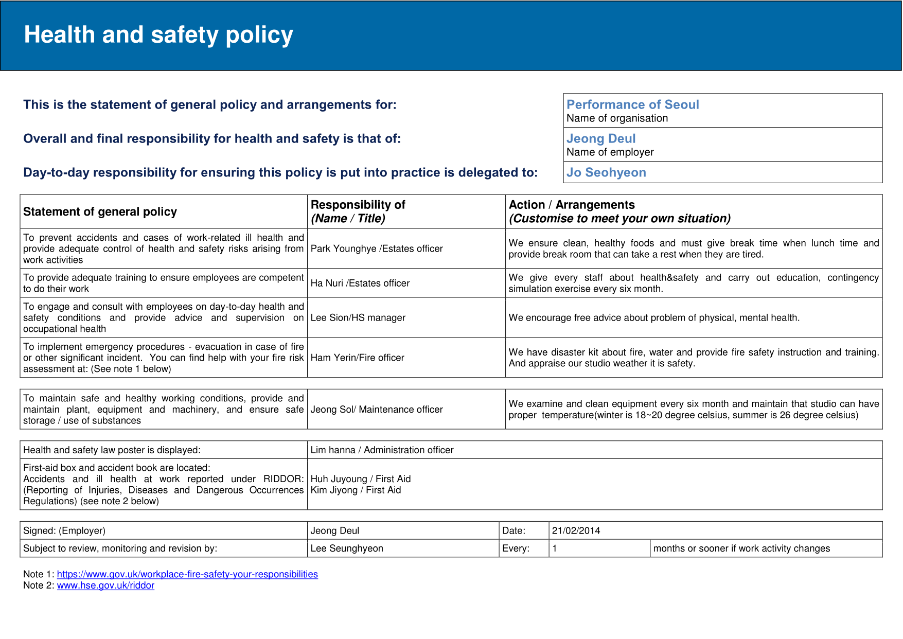 risk assessment policy template 1